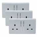 Trendi 2 Gang Artistic Modern Glossy 13 Amp Switched Tactile Plug Socket Silver (3 Pack)